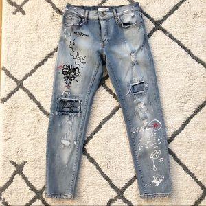 Zara Distressed Graffiti Skinny Jeans Size 4